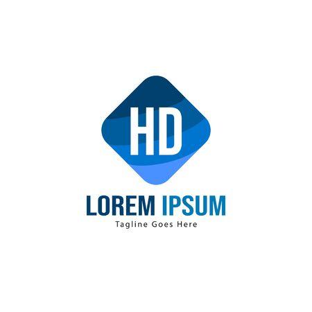Initial HD logo template with modern frame. Minimalist HD letter logo vector illustration Logó