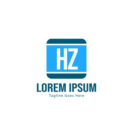 Initial HZ logo template with modern frame. Minimalist HZ letter logo vector illustration