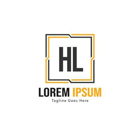Initial HL logo template with modern frame. Minimalist HL letter logo vector illustration Vectores