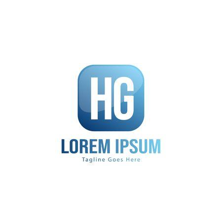 Initial HG logo template with modern frame. Minimalist HG letter logo vector illustration