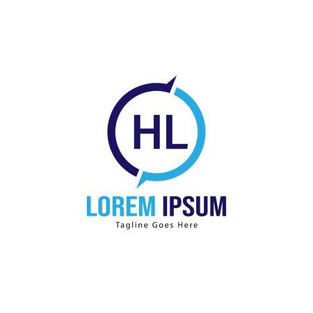 Initial HL logo template with modern frame. Minimalist HL letter logo vector illustration Vettoriali