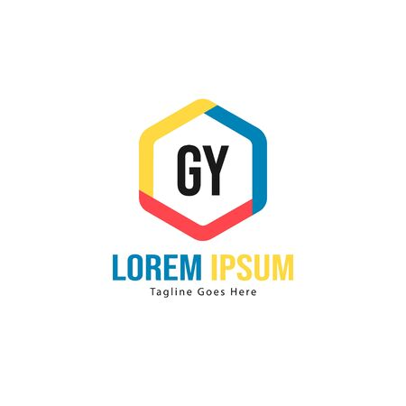 Initial GY logo template with modern frame. Minimalist GY letter logo vector illustration Logó