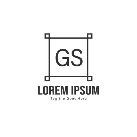 Initial GS logo template with modern frame. Minimalist GS letter logo vector illustration