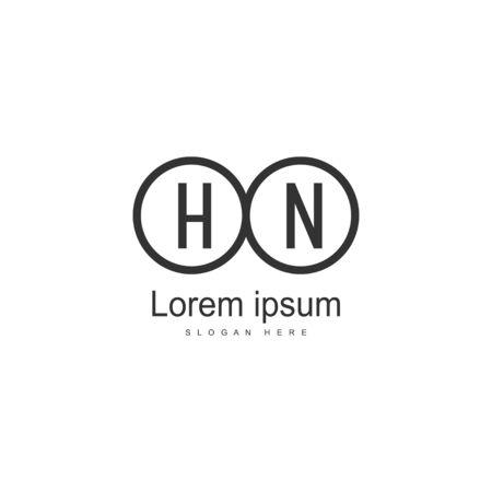 Initial HN logo template with modern frame. Minimalist HN letter logo vector illustration