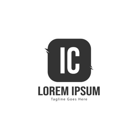 Initial IC logo template with modern frame. Minimalist IC letter logo vector illustration