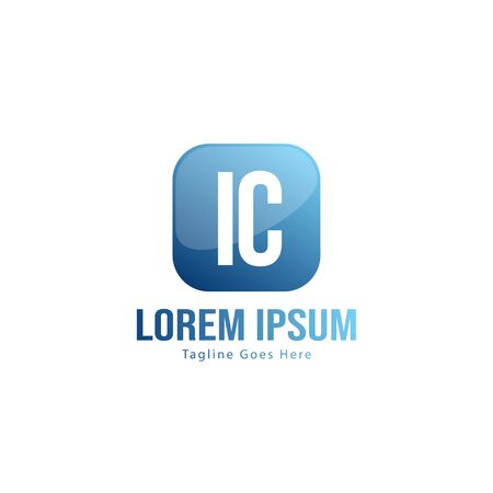 Initial IC logo template with modern frame. Minimalist IC letter logo vector illustration Zdjęcie Seryjne - 128907484