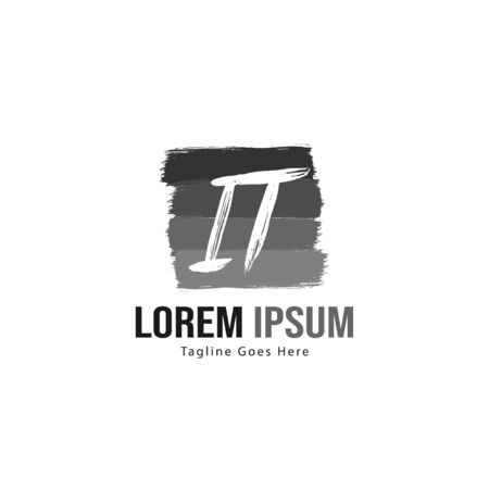 Initial IT logo template with modern frame. Minimalist IT letter logo vector illustration Zdjęcie Seryjne - 128907518
