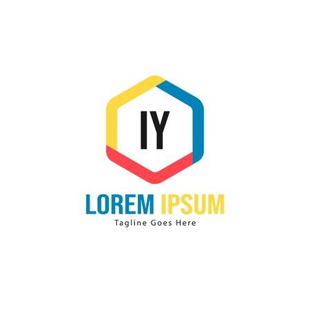Initial IY logo template with modern frame. Minimalist IY letter logo vector illustration