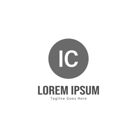 Initial IC logo template with modern frame. Minimalist IC letter logo vector illustration Zdjęcie Seryjne - 128907706
