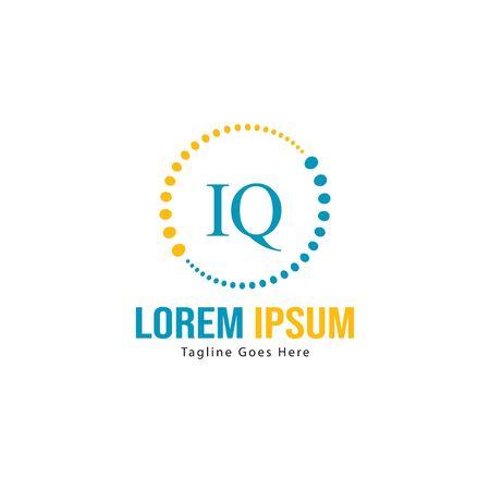 Initial IQ logo template with modern frame. Minimalist IQ letter logo vector illustration Zdjęcie Seryjne - 128907701