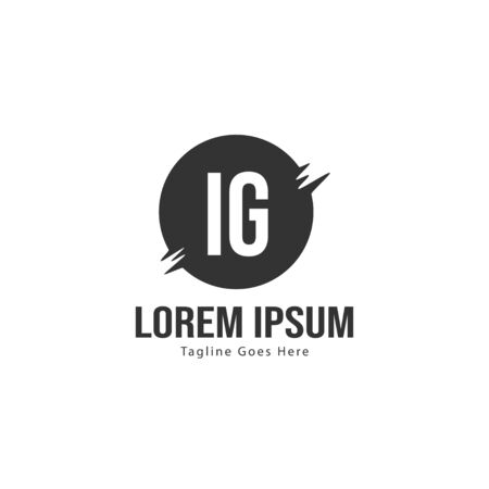 Initial IG logo template with modern frame. Minimalist IG letter logo vector illustration