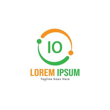 Initial IO logo template with modern frame. Minimalist IO letter logo vector illustration