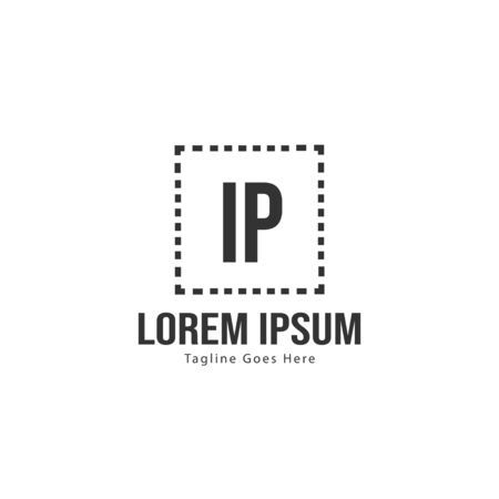 Initial IP logo template with modern frame. Minimalist IP letter logo vector illustration