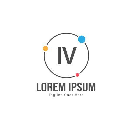 Initial IV logo template with modern frame. Minimalist IV letter logo vector illustration