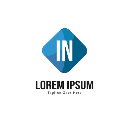 Initial IN logo template with modern frame. Minimalist IN letter logo vector illustration Logó