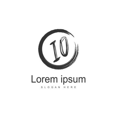 Initial IO logo template with modern frame. Minimalist IO letter logo vector illustration Logo