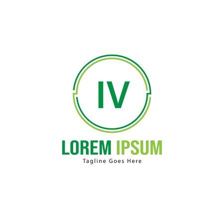 Initial IV logo template with modern frame. Minimalist IV letter logo vector illustration Vettoriali