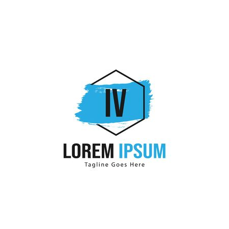 Initial IV logo template with modern frame. Minimalist IV letter logo vector illustration Logó