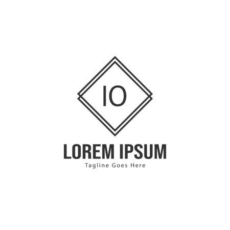 Initial IO logo template with modern frame. Minimalist IO letter logo vector illustration Ilustração