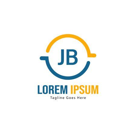 Initial JB logo template with modern frame. Minimalist JB letter logo vector illustration