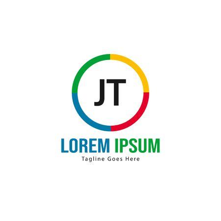 Initial JT logo template with modern frame. Minimalist JT letter logo vector illustration