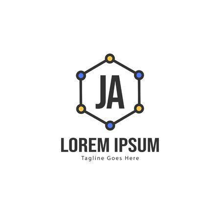 Initial JA logo template with modern frame. Minimalist JA letter logo vector illustration Illustration