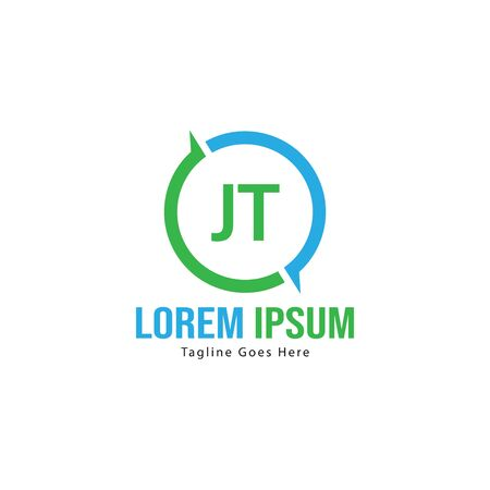 Initial JT logo template with modern frame. Minimalist JT letter logo vector illustration Logó