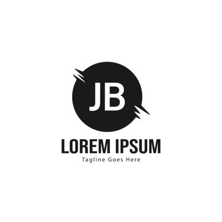 Initial JB logo template with modern frame. Minimalist JB letter logo illustration