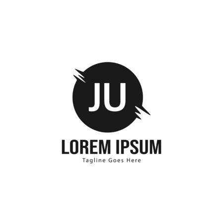 Initial JU logo template with modern frame. Minimalist JU letter logo illustration