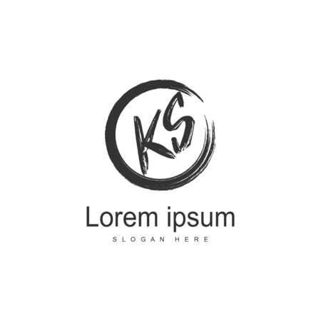 Initial KS logo template with modern frame. Minimalist KS letter logo illustration Logó