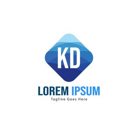 Initial KD logo template with modern frame. Minimalist KD letter logo illustration Logó