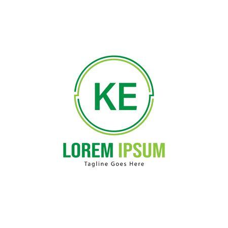 Initial KE logo template with modern frame. Minimalist KE letter logo illustration