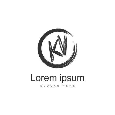 Initial KV logo template with modern frame. Minimalist KV letter logo illustration Logó