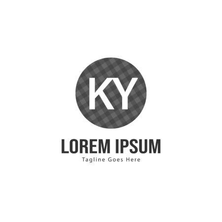 Initial KY logo template with modern frame. Minimalist KY letter logo illustration Ilustrace