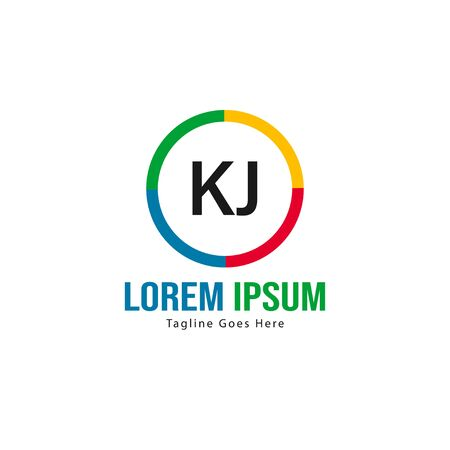 Initial KJ logo template with modern frame. Minimalist KJ letter logo illustration