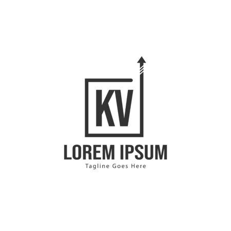 Initial KV logo template with modern frame. Minimalist KV letter logo illustration