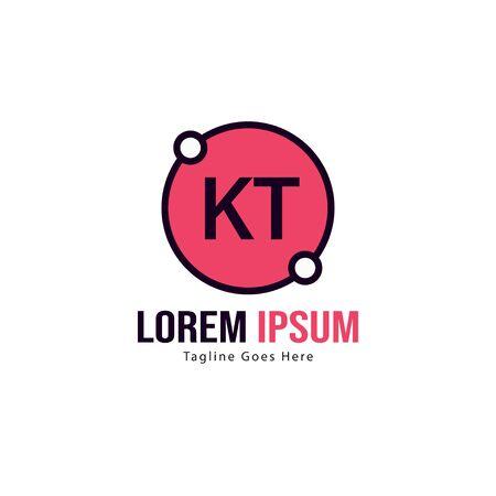 Initial KT logo template with modern frame. Minimalist KT letter logo illustration Ilustrace