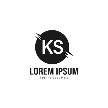 Initial KS logo template with modern frame. Minimalist KS letter logo vector illustration