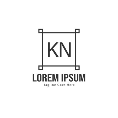Initial KN logo template with modern frame. Minimalist KN letter logo vector illustration Ilustrace