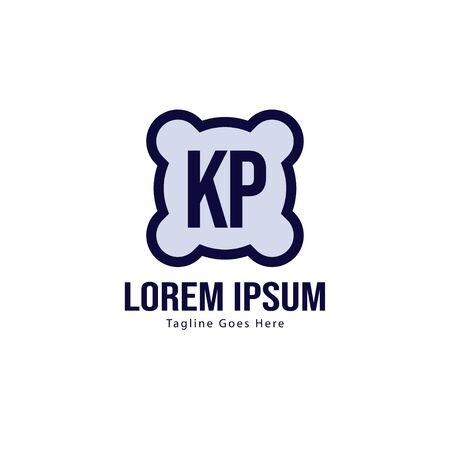 Initial KP logo template with modern frame. Minimalist KP letter logo vector illustration