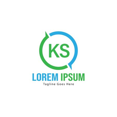 Initial KS logo template with modern frame. Minimalist KS letter logo vector illustration Logó