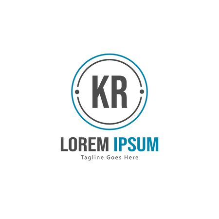 Initial KR logo template with modern frame. Minimalist KR letter logo vector illustration