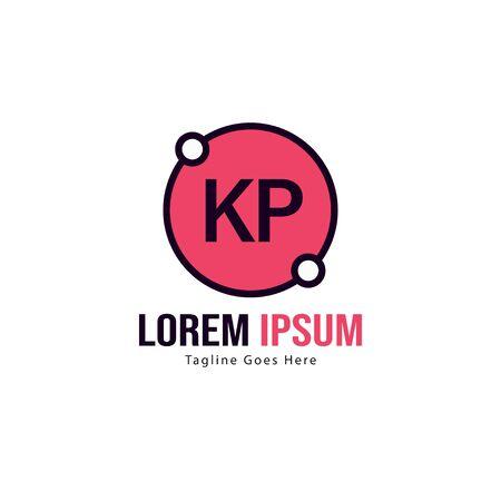 Initial KP logo template with modern frame. Minimalist KP letter logo vector illustration Logó