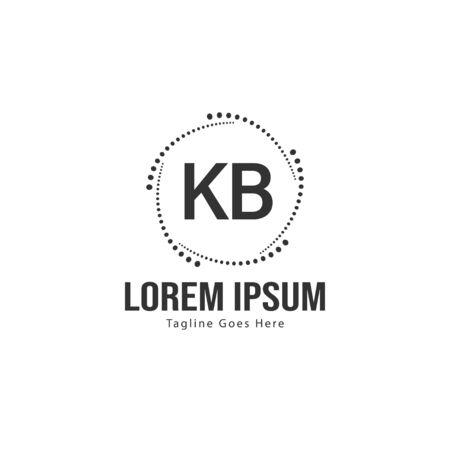 Initial KB logo template with modern frame. Minimalist KB letter logo vector illustration 矢量图像