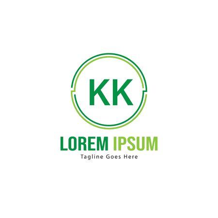 Initial KK logo template with modern frame. Minimalist KK letter logo vector illustration
