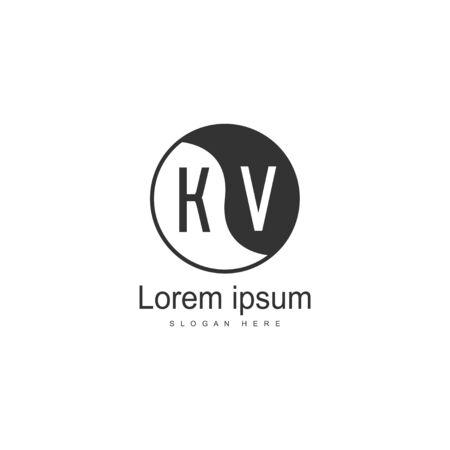 Initial KV logo template with modern frame. Minimalist KV letter logo vector illustration