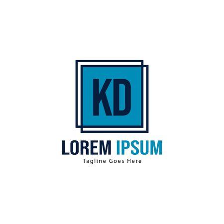 Initial KD logo template with modern frame. Minimalist KD letter logo vector illustration