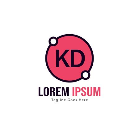 Initial KD logo template with modern frame. Minimalist KD letter logo vector illustration Stockfoto - 129196189