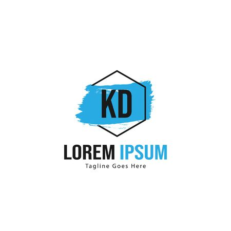 Initial KD logo template with modern frame. Minimalist KD letter logo vector illustration Stockfoto - 129196211