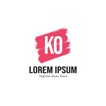 Initial KO logo template with modern frame. Minimalist KO letter logo illustration